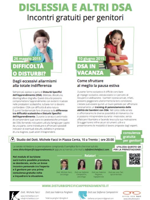 Dislessia e altri DSA – incontri gratuiti per genitori!
